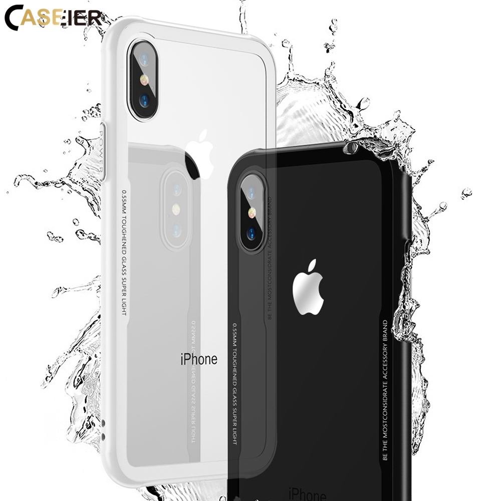 CASEIER Tempered Glass Phone Case For iPhone X Xr Xs Max 7 8 6s 6 Soft TPU Edge Glass Back Cases For iPhone 8 7 6s 6 Plus Cover iPhone XR