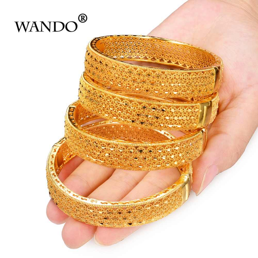 Wando 4pcs/lot charm 24Kbracelets for women luxury brand gold Color hollow beach party bangle jewelry India wb132
