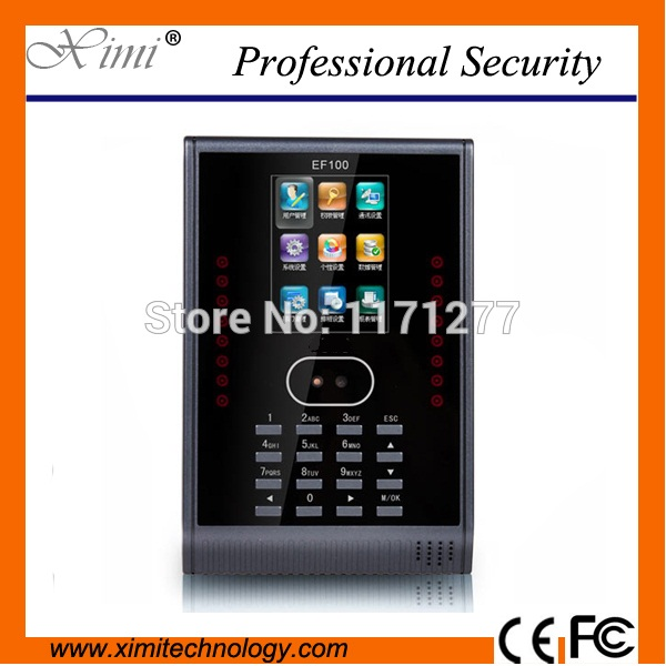 High quality EF100 Linux system 3 TFT color screen TCP/IP RS232/RS485 free software time attendance device