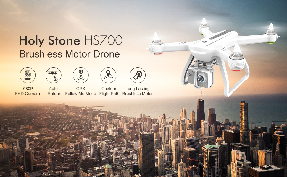 [USA EU Stock]Holy Stone HS700 1000m Range mins Flight Brushless Motor 5GHz 400m Wifi GPS FPV FHD 19*1080P 2800mAh GPS Drone 1