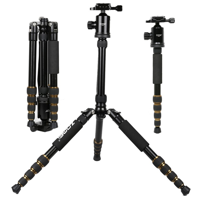 New Professional Portable  Aluminum Tripod for DSLR Camera Camcorder Travel Tripod Stand Removable Monopod with Ball Head new sys700 aluminum professional tripod