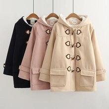 Новое зимнее модное женское кашемировое шерстяное пальто, теплое длинное винтажное пальто с роговыми пуговицами, куртка, толстое повседневное шерстяное пальто для колледжа