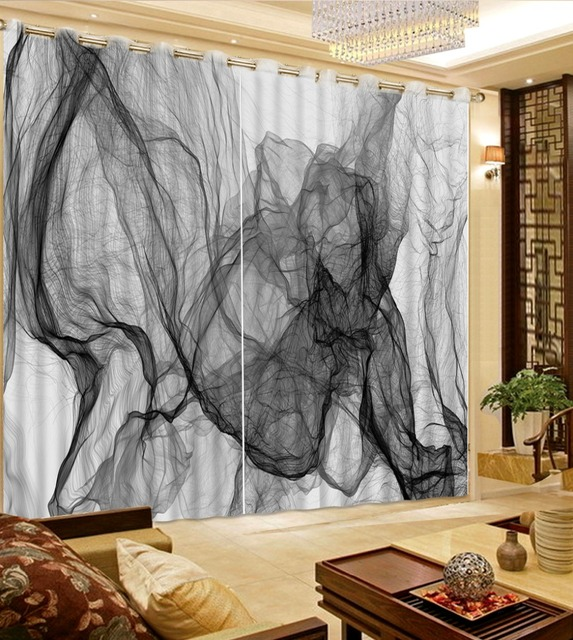 European Curtain Custom Abstract Curtains For Living Room Bedroom Kitchen Fashion Gray