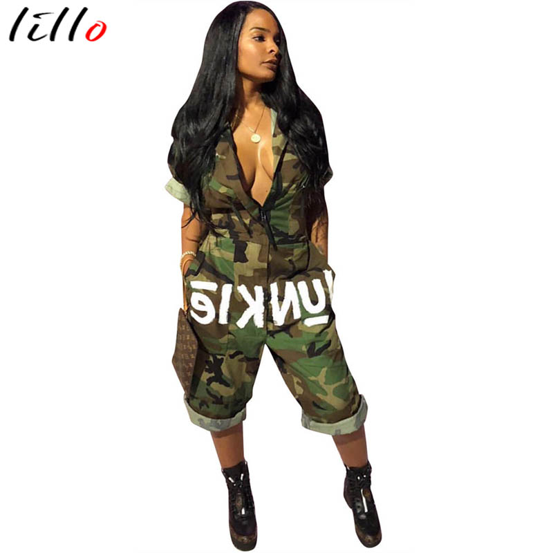 Personalized flag camouflage jumpsuit Fashionable casual letter V-neck zipper Comfortable quality fabric  Summer must-haves