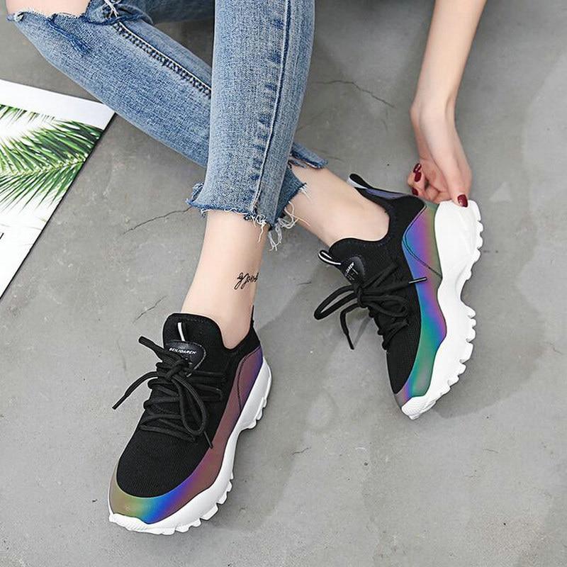 2018 nueva marca de Moda de Primavera mujeres reflexivo casuales 5 cm suela gruesa Zapatos Señora mash lace up colorido zapatos QA-13