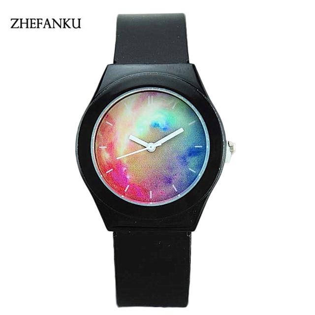 ZHEFANKU Fashion Beautiful Women Men Watch Rainbow Casual Quartz WristWatch Unisex Elegant Clock Relogio Feminino Saat