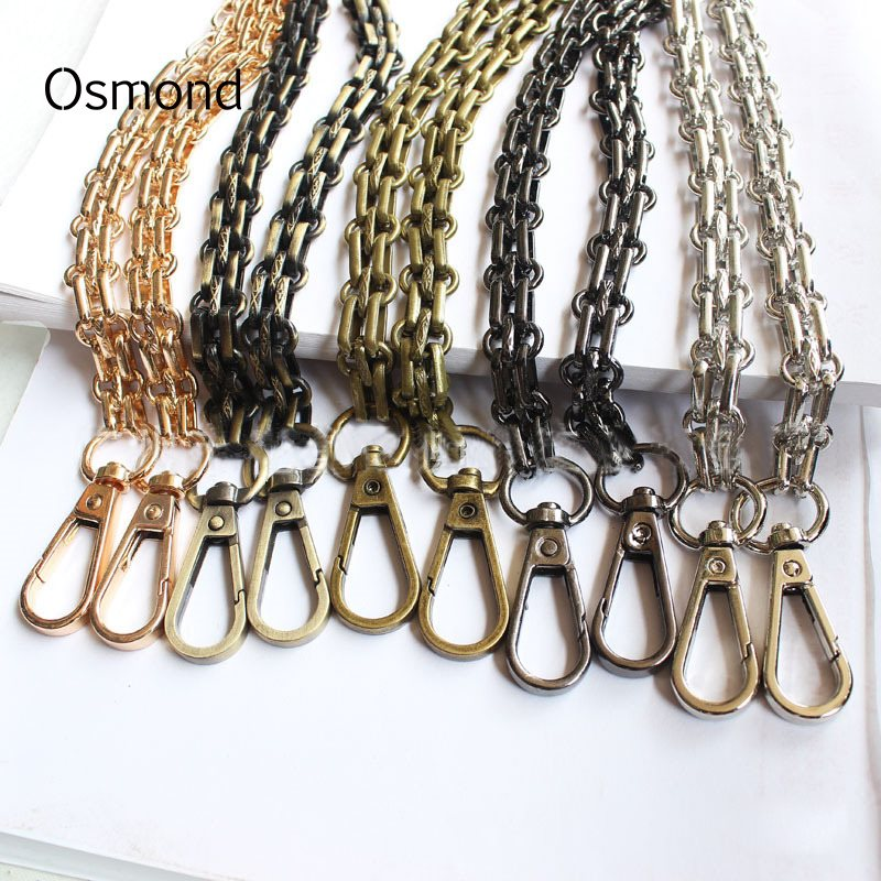 Osmond Metal Shoulder Belts 120CM Chain Bag Strap Iron Bag Belt Straps For Handbag Parts DIY Replacement Detachable Bands Handle 10pcs 120cm metal chain for shoulder bags handbag buckle handle diy strap accessories for bag hardware double woven iron chain