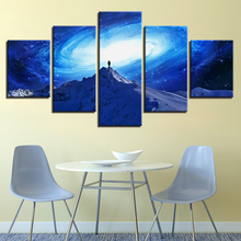 Modern Wall Art Canvas HD Print Picture Poster 5 Pieces Rotate Milky Way Starry Sky Painting Universe Space Home Decor