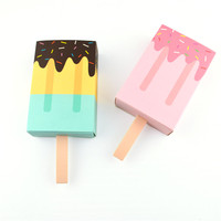 50 pcs Caixa de Embalagem de Presente de Chocolate Picolé Ice Cream Bonito Doces Dobrável Caixa De Papel Da Gaveta fontes do aniversário do bebê do chuveiro do casamento