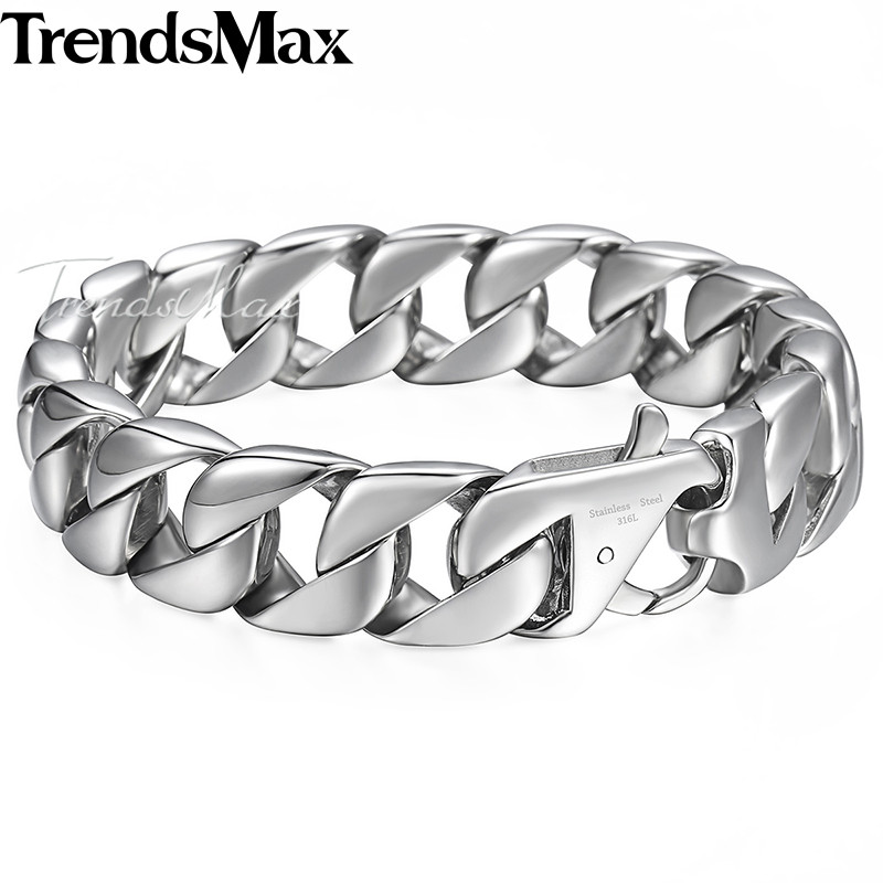 Trendsmax 14mm 316L Stainless Steel Men's Bracelet Silver Color Round Curb Cuban Chain Gift Jewelry For Men HB164 trendsmax bracelet for men 316l stainless steel curb cuban link chain bracelet totem knot charm wristband men fashion gift hb10