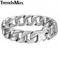 14mm Silver Tone Round Curb Cuban Link Mens Boys Chain 316L Stainless Steel Brcelet Personalize Sz