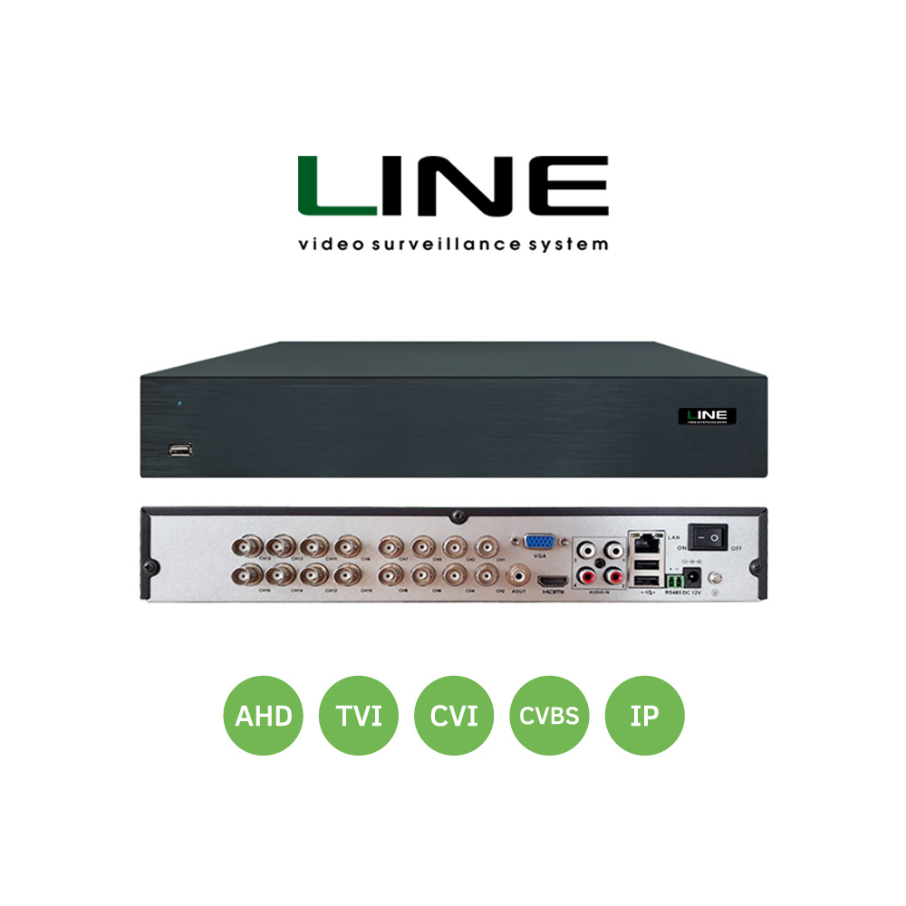 Line 16 channel Hybrid Video Recorder Cctv Onvif Nvr 16ch HDD Hdmi Dvr For Multi format 8MP TVI CVI CVBS AHD IP Camera in Surveillance Video Recorder from Security Protection