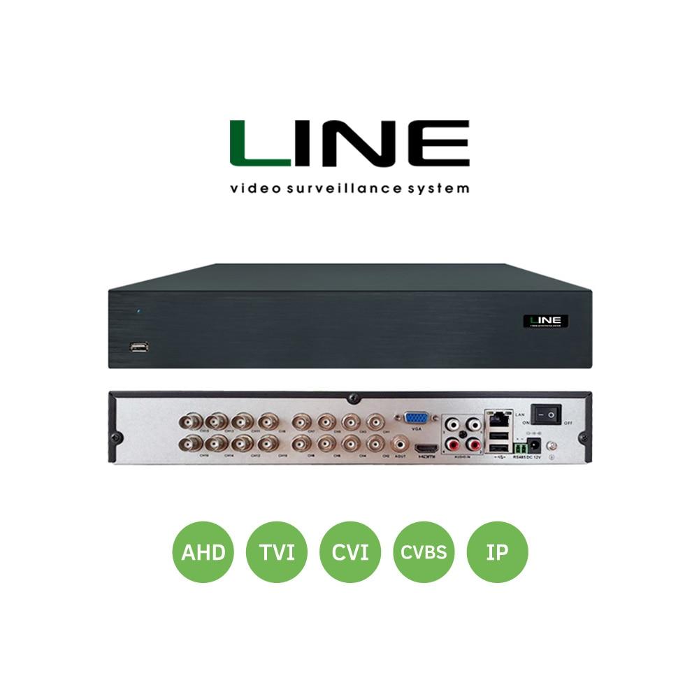 Linha 16 canal Híbrido Gravador De Vídeo Cctv Onvif Nvr 16ch HDD Dvr Hdmi Para Multi-formato 8MP CVI TVI CVBS AHD Câmera IP