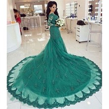 Ellen Morgan Green Long Sleeves Mermaid Wedding Dresses