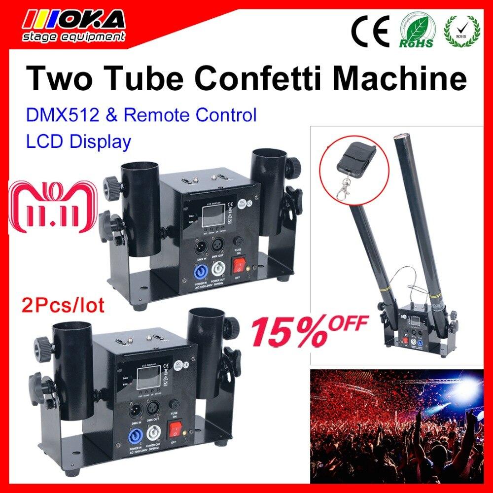 2Pcs/ lot two Head Confetti Machine, Wedding Blaster Electrical DMX/ Remote Control Stage Effects Confetti Cannon недорого