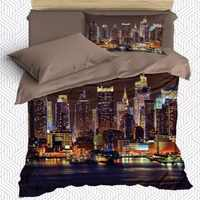 Else 4 Piece Sea Side City Skyscrapers Landscape 3D Print Cotton Satin Single Duvet Cover Bedding Set Pillow Case Bed Sheet