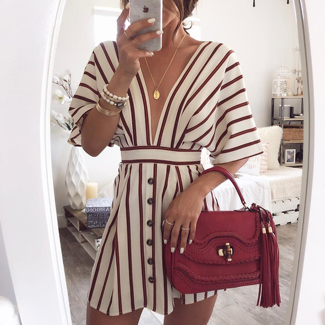 e0ef2980dc4 2018 Women s Vacation Bohemian Beach Striped Button Dress Sexy Deep V Neck  Loose Dresses Summer Women Vintage Casual Dresses