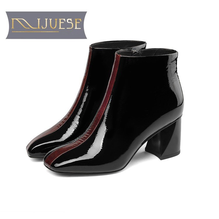 MLJUESE 2019 women ankle boots Cow leather zippers mixed colors winter warm fur female boots high