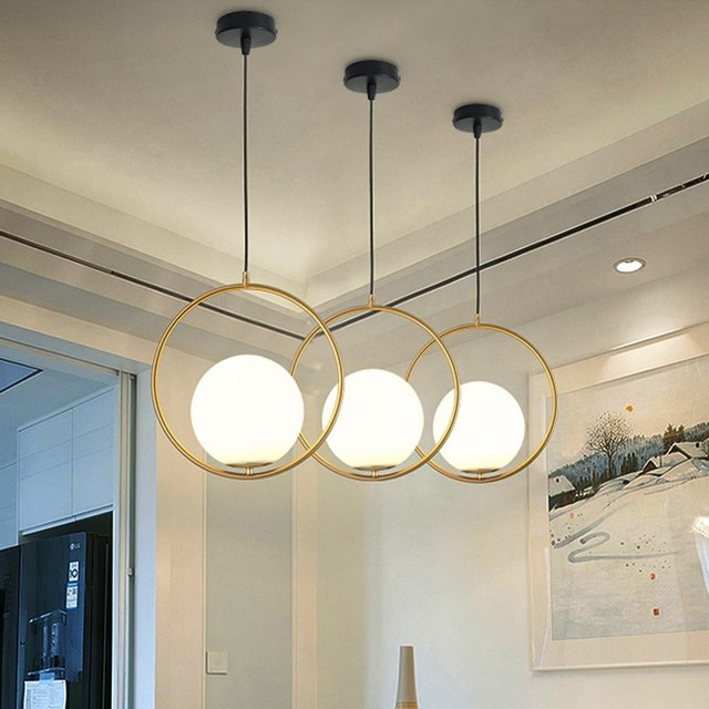 Golden Round Globe Pendant Lights Bar Restaurant Kitchen Fixtures Gl Ball Lamps Hang Lamp Lamparas