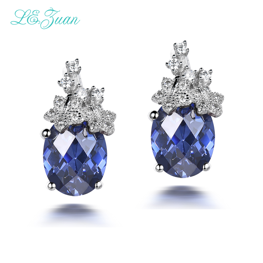 L&zuan S925 Sliver Sapphire Stud Earrings For Womens 742ct Blue Natural  Cut Gemstones Trendy Luxury