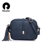 REALER Brand Casual Shoulder Bags Women Small Messenger Bags Ladies Retro Design Handbag With Tassel Female