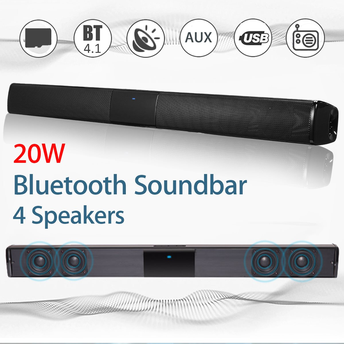Kinco 20W Wireless Bluetooth Soundbar Stereo Hi-Fi Speaker Subwoofer FM TF AUX USB 50pcs lot lsm303dlhtr