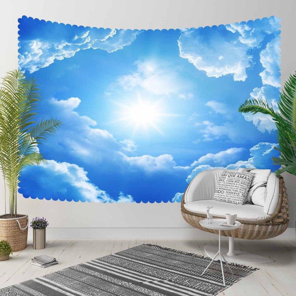 Autre bleu ciel blanc nuages briller soleil 3D imprimer décoratif Hippi bohème tenture murale paysage tapisserie mur Art