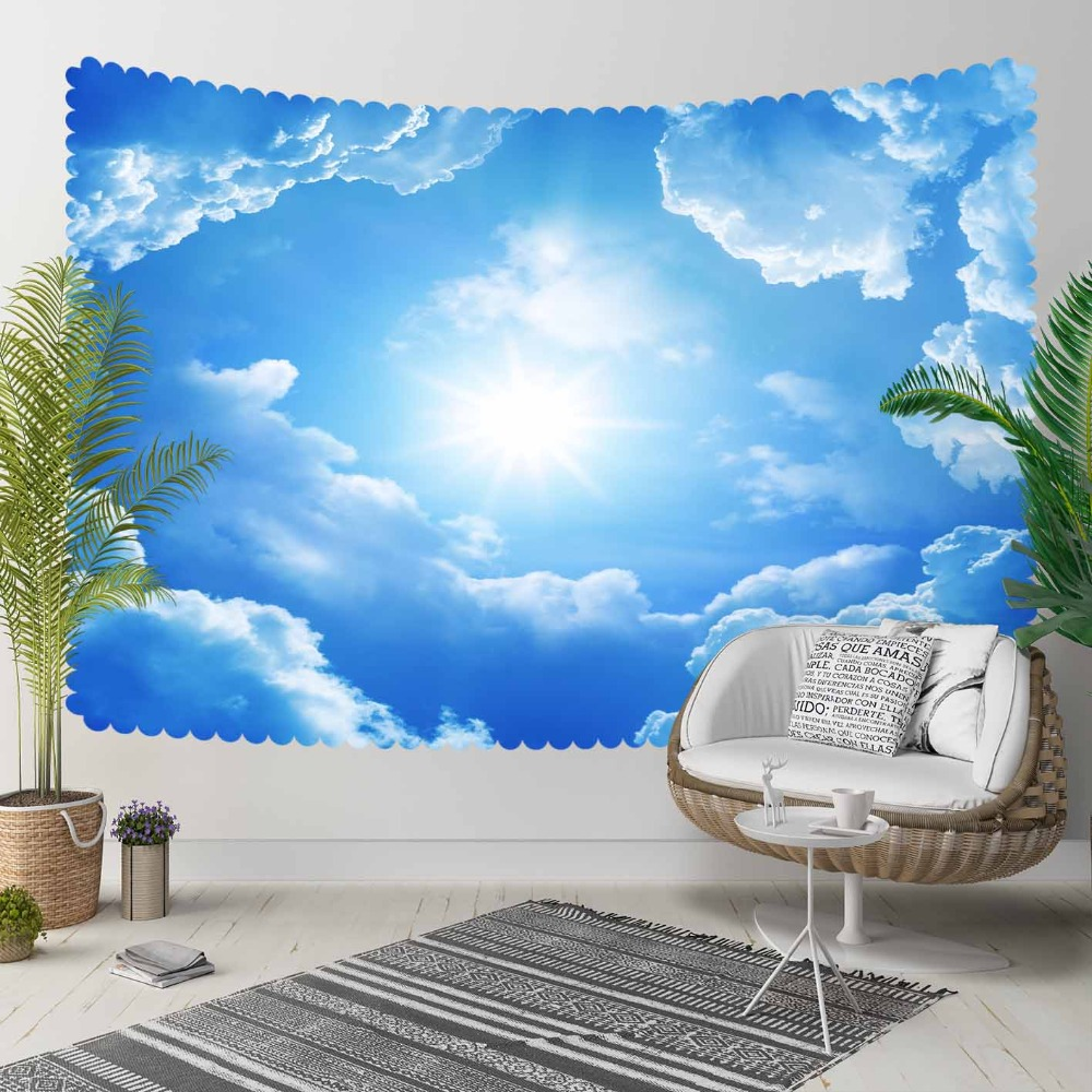 Else Blue Sky White Clouds Shine Sun  3D Print Decorative Hippi Bohemian Wall Hanging Landscape Tapestry Wall Art