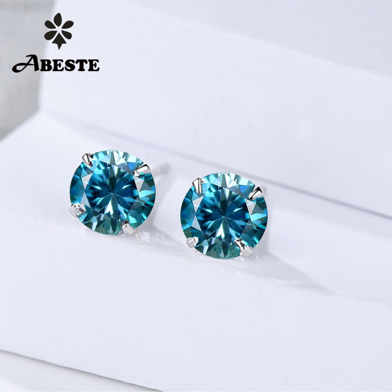 где купить ANI 18K White Gold (AU750) Women Stud Earrings Round Cut Natural Blue Zircon Trendy Lady Engagement Stud Earrings Fine aretes дешево