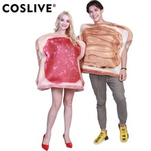 coslive halloween carnival 2 sets couple dress sandwich couples adult costume toast funny food costumes jumpsuit