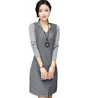 2018 New Fashion Plus Size Autumn Winter Dresses Casual Knitting Long Sleeve V neck Vestidos Slim Office Work Women Dress CM2258