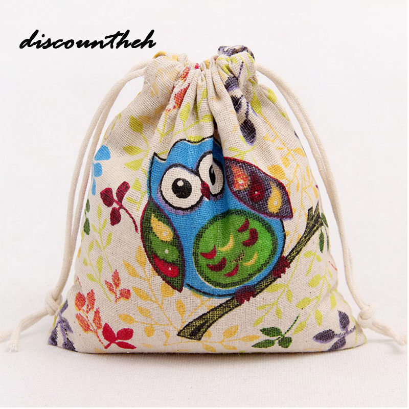 Girl Coin Purse Organizer Drawstring Bag Storage Bag Owl Printing Drawstring Beam Port Travel Bag kai yunon women sparrow drawstring beam port backpack shopping bag travel bag aug 24