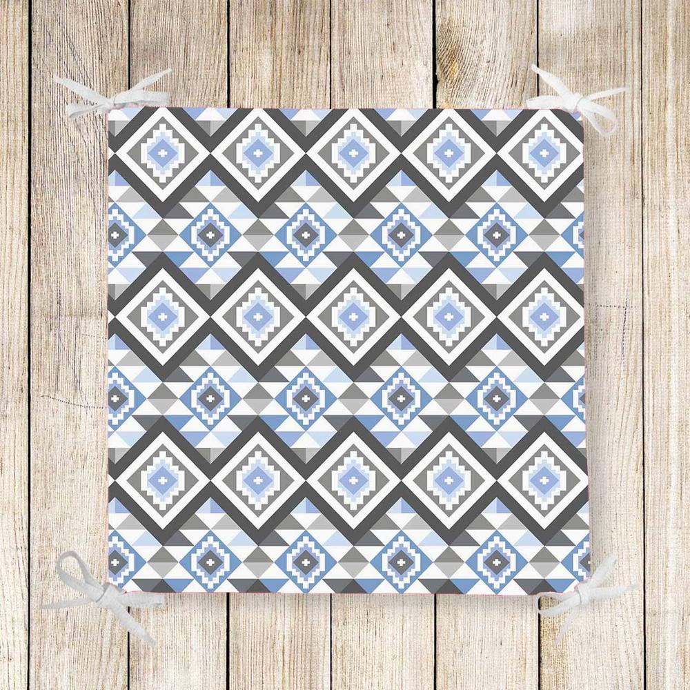 Else Blue Gray Geometric Tiles Aztec 3d Print Chair Pad Seat Cushion Soft Memory Foam Full Lenght Ties Non Slip Washable Zipper