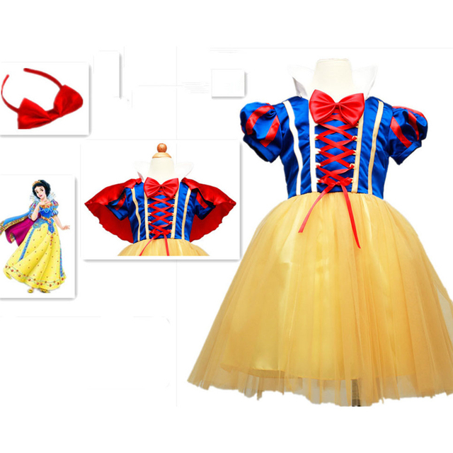 c4585ef8513b New Hot Sale Snow White Princess Dress with Red Cape and Bow Kids Girl  Dresses Party Cosplay Children Clothing Sets Costume