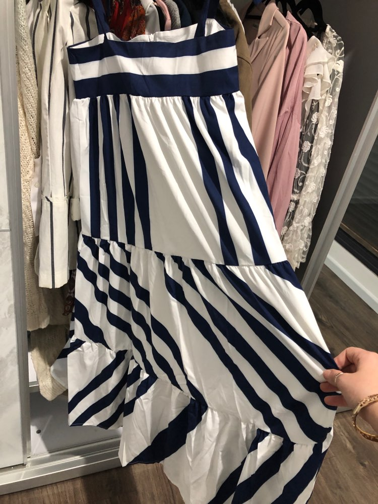 Striped Spaghetti Strap Long Women'S Dresses Casual Off Shoulder Back Less Bow Lace Up Female Clothes photo review