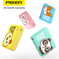 PISEN Cute 18650 Power Bank 10000mAh 2A Fast Charging Portable USB Charger LED Flashlight External Battery