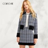 COLROVIE Zip Front Plaid Elegant Faux Fur Coat & Skirt Set Two Piece Set 2018 Autumn Women Clothes Set Sexy Female Office Suit