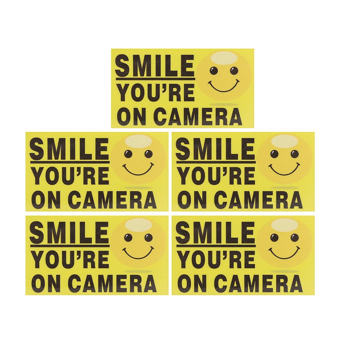 Safurance 5x Улыбка Вы на Камера самостоятельно adhensive CCTV видео сигнал Детская безопасность Наклейки знаков деколь охранных Предупреждение