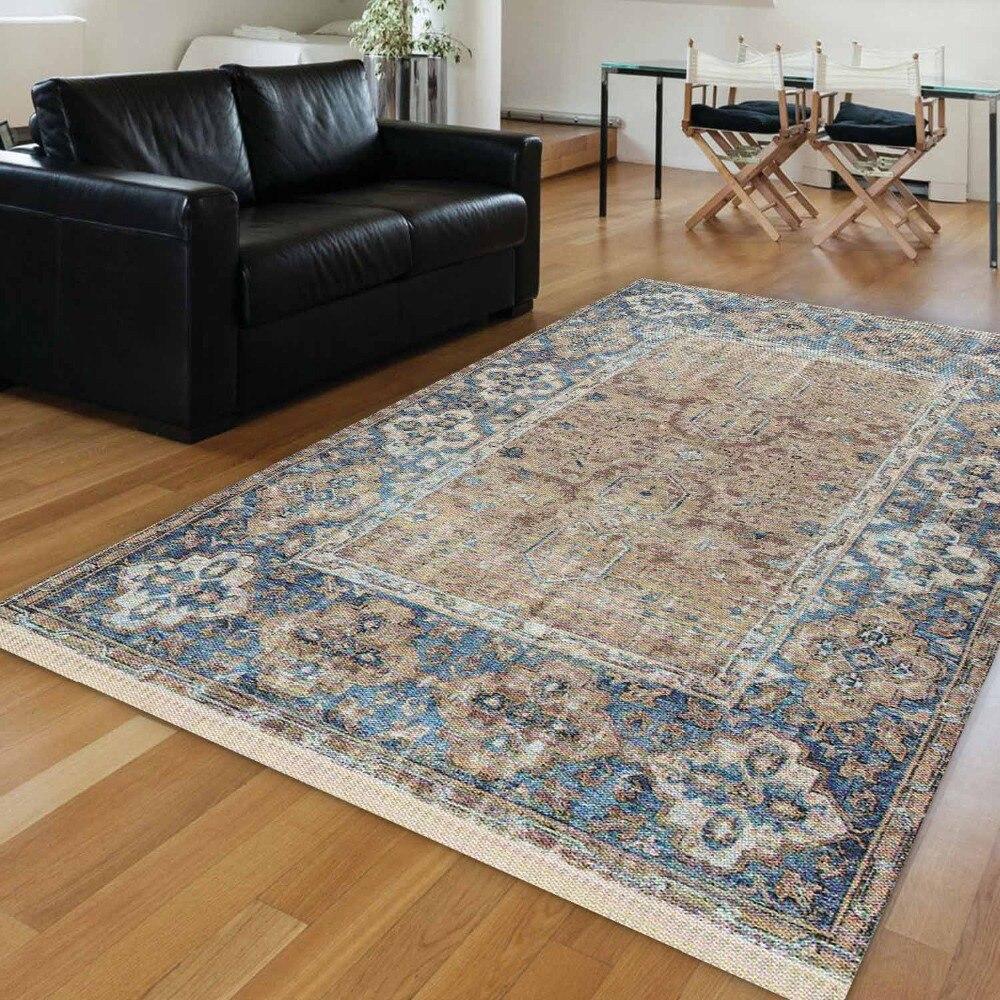 Autre bleu marron persan ethnique authentique Vintage rétro impression 3d antidérapant Kilim lavable décoratif tapis de zone bohème tapis