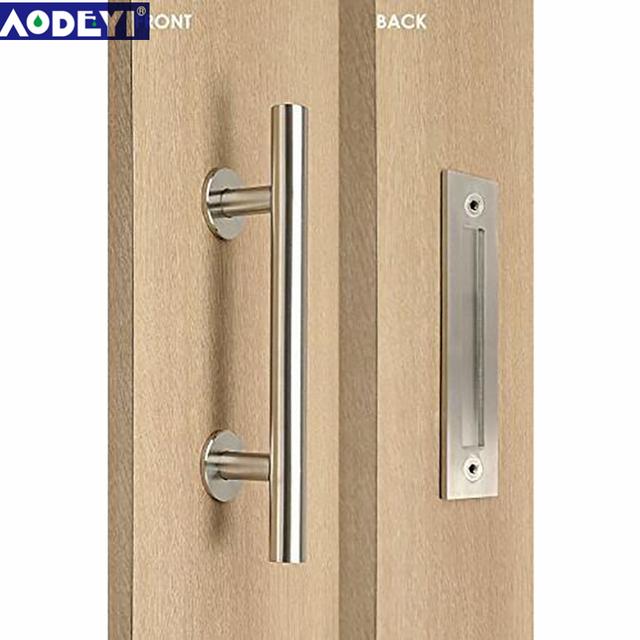 AODEYI 304 Stainless Steel Sliding Barn Door Pull Handle Wood Door Handle  Black Door Handles For Interior Doors Handle