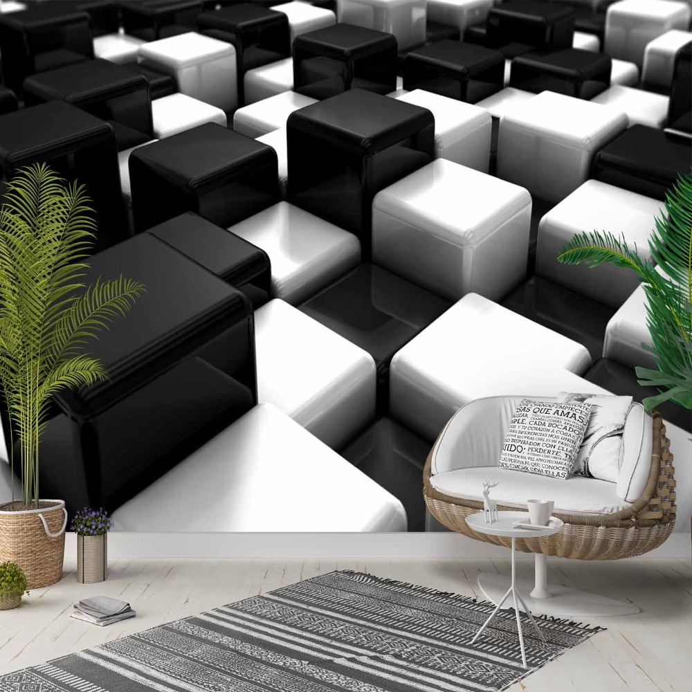 Else Black White Cubes Boxes Abstract 3d Photo Cleanable Fabric Mural Home Decor Living Room Bedroom Background Wallpaper