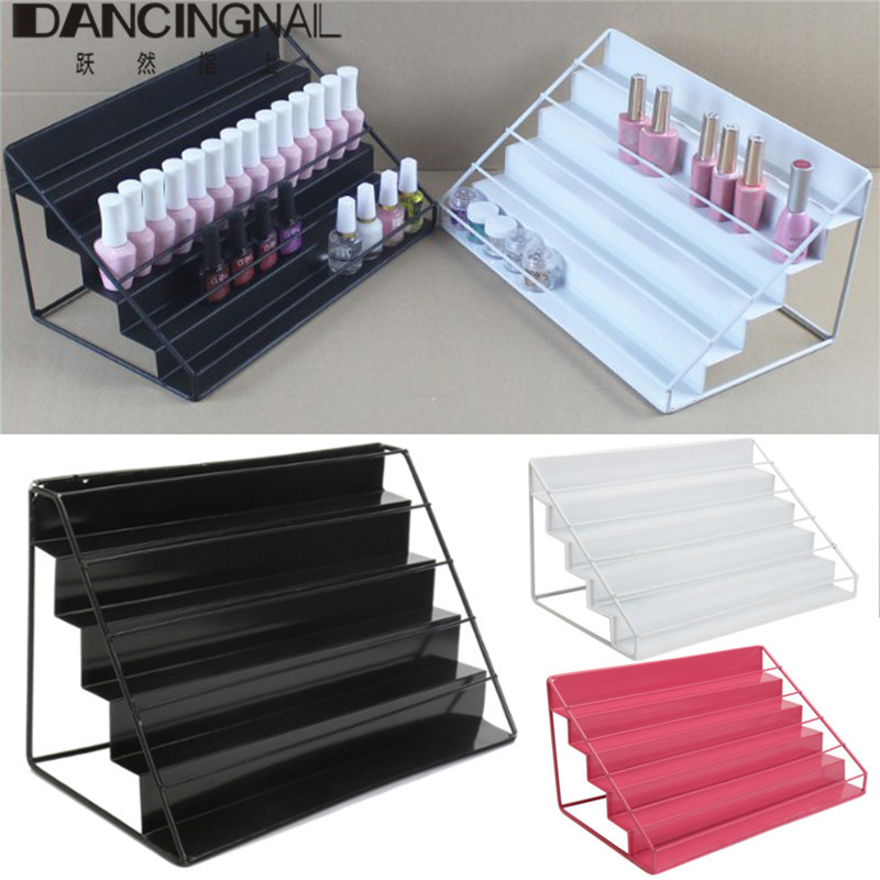 5 Tiers Iron Metal Nail Polish Shelf Cosmetic Varnish Rack Organizer Storage Women Makeup Lipstick Jewelry Display Stand Holder