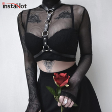 InstaHot Fishnet Turtleneck Mesh Crop Tops Women Sexy See Through Club Blouse Belt Choker Gothic Shirts Party Autumn Navel Plain