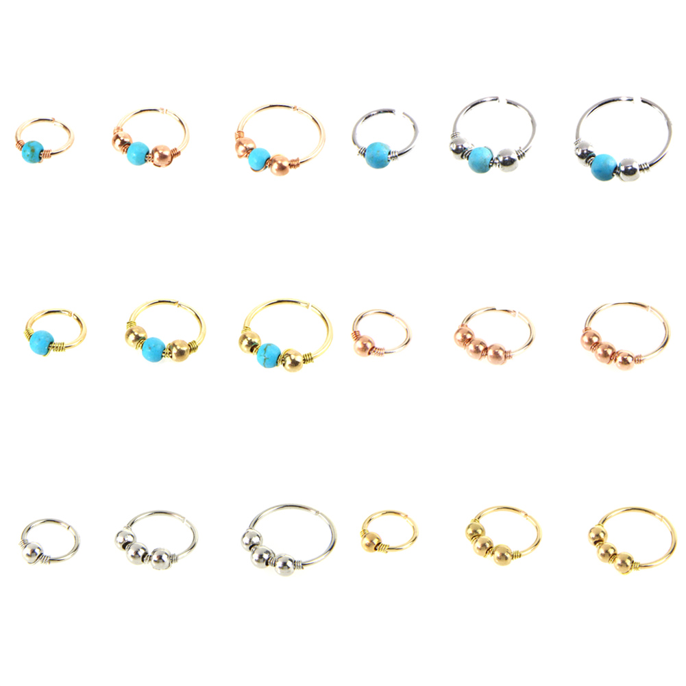 3pcs set Green Stone Hoop Helix Piercing Ear Cartilage Surgical Septum Clickers Nose Ring Nipple Tragus