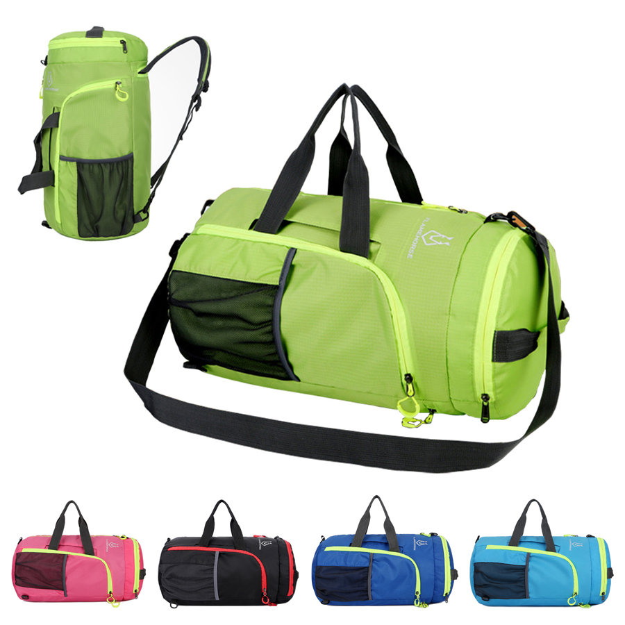 56bbe63c8f9f 2019 Foldable Sport Bag Polyester Gym Bag For Men Women Pink With  Compartments Waterproof Backpack Outdoor