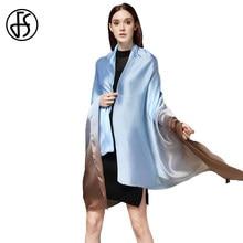 658961642317 FS Marque Designer Grand Soie Satin Écharpe Femmes Gradient Couleur Long  Châles Et Wraps Souple Dames Foulards Echarpe Pashmina .