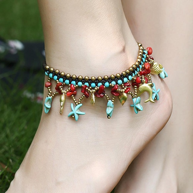 2017 New Ing Beach Anklet Jewelry Starfish Bell Braided Women Vintage Ankle Bracelet
