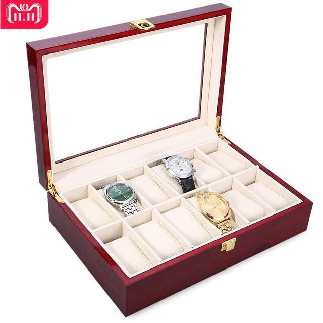 New Luxury 12 Slots Wood Watch Box Display Case Glass Top Bracelet Watch Jewelry Collection Storage Organizer Caixa De Relogios 12 slots wood watch display case watches box glass top jewelry storage organizer