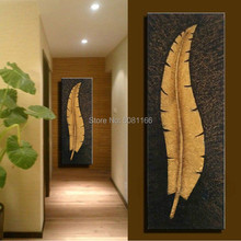 Large 100% Handmade vertical painting gold Banana leaf Canvas Wall Art retro feather Oil Painting Artwork Home Hotel stairway D