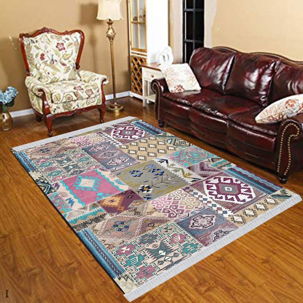 Else Purple Blue Brown Morocco Ethnic Patchwork 3d Print Anti Slip Kilim Washable Decorative Kilim Tassel Rug Bohemian Carpet